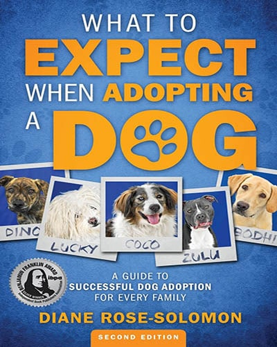 Cover for the book, What to Expect When Adopting a Dog. Features several pictures of dogs across the front with a blue background.