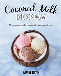 Cover for the book, Coconut Milk Ice Cream. Features three scoop of ice cream - 1 chocolate, 1 strawberry, 1 vanilla - inside a coconut shell bowl with a blue background.