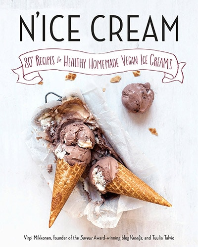 Cover for the book, N'ice Cream. Features several ice cream cones on a mostly white background.