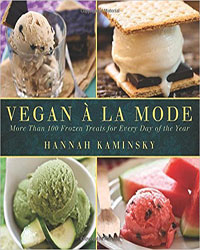 Cover for the book, Vegan A La Mode. Features four different vegan ice cream desserts.