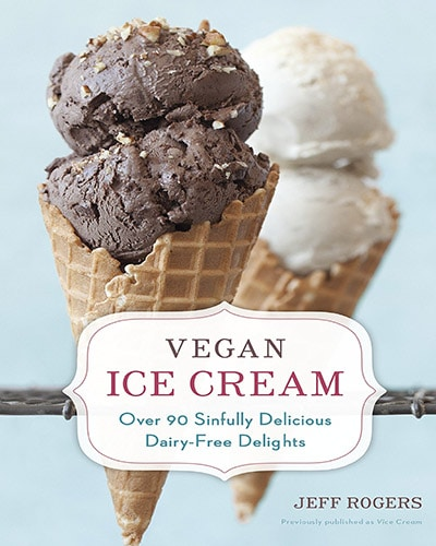 Cover for the book, Vegan Ice Cream. Up Close picture of two ice cream cones with double scoops on each. Light blue background.