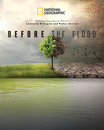 Cover for the film, Before the Flood. Features a picture of a tree in a field with half of it being lush and green, and the other half dark and grey.
