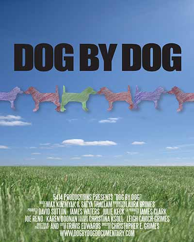 Cover for the film, Dog by Dog, featuring a green field with a blue sky.
