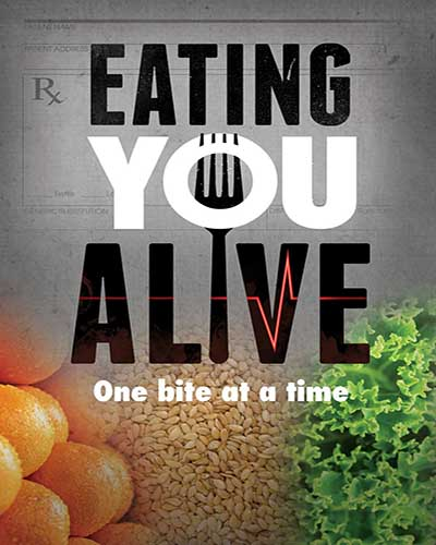 Cover for the film, Eating You Alive. Features oranges and greens on the cover.