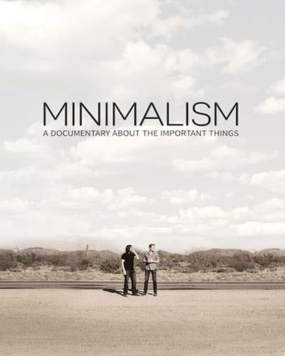 Cover for the film, Minimalism. Features two men standing on the side of a desert-like road.