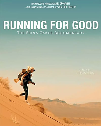 Cover for the film, Running for Good. Features a person running down a large hill with the blue sky in the background.