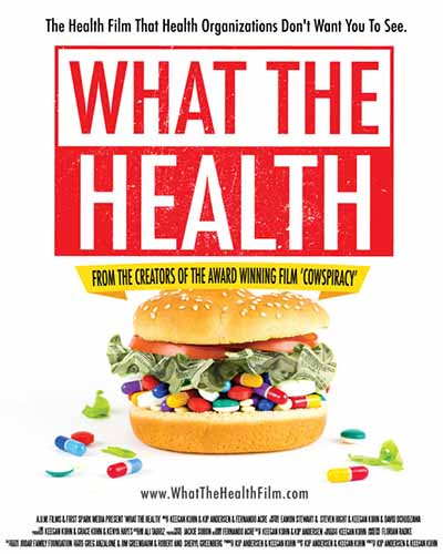 Cover for the film, What the Health. Features a burger filled with prescription medications on a white background.