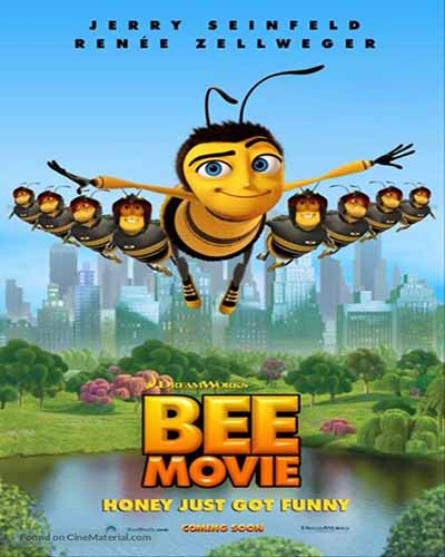 Cover for the film, Bee Movie. Features a group of flying cartoon bees over a pond.