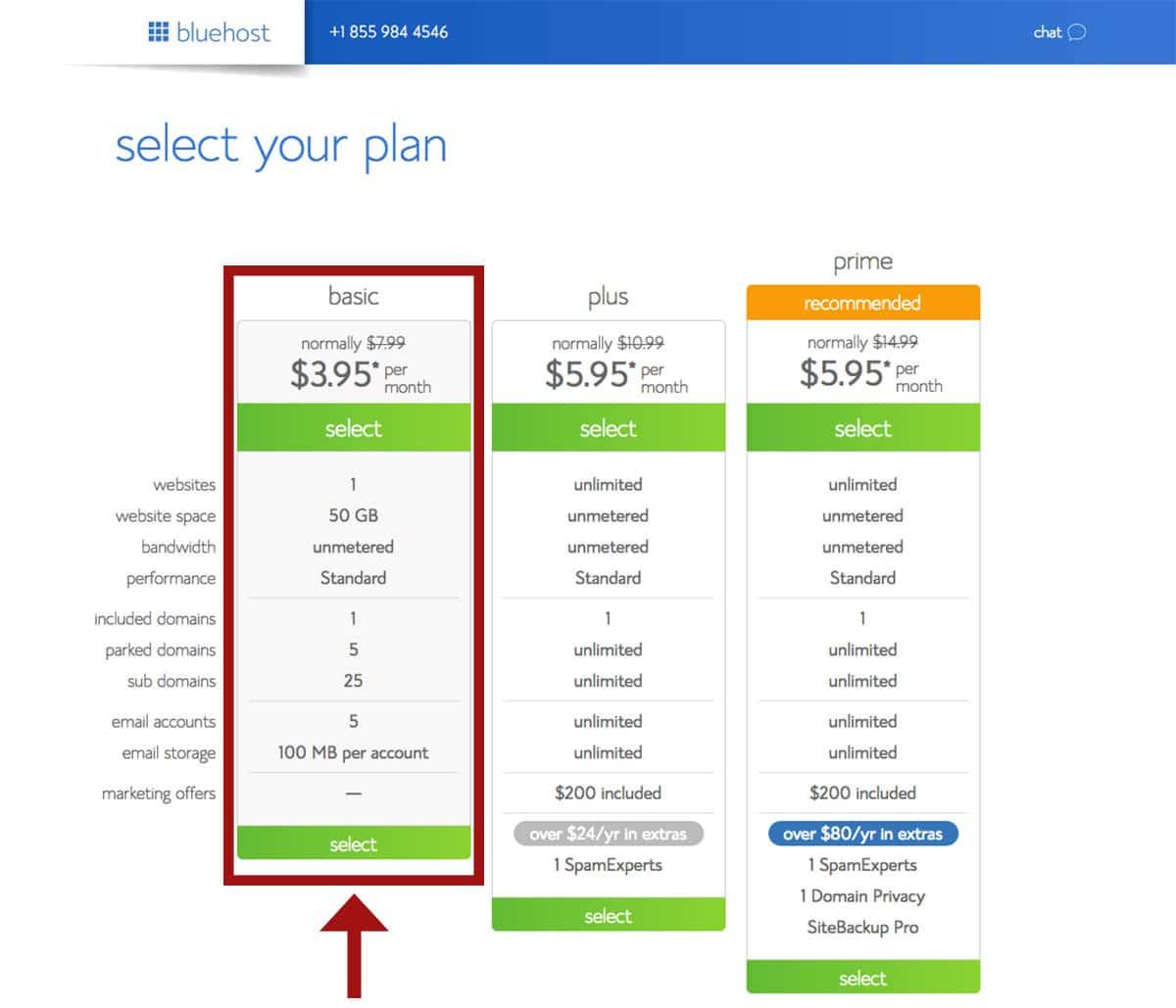 Bluehost hosting plan descriptions