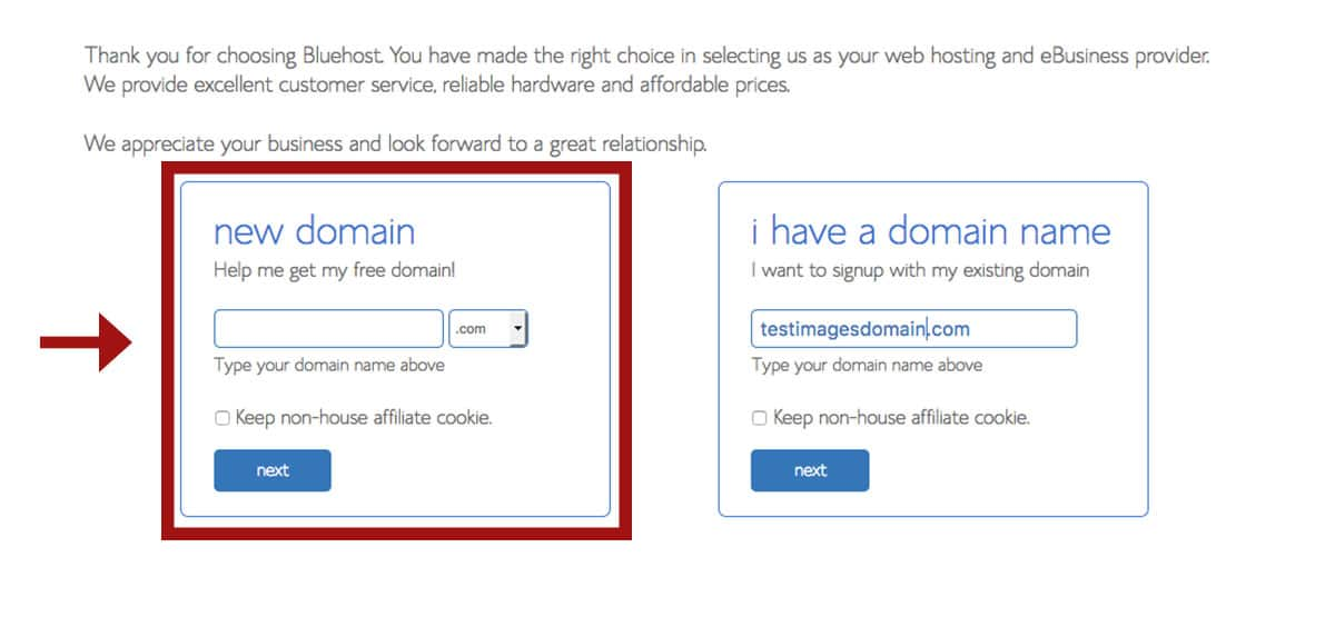 Bluehost sign up form