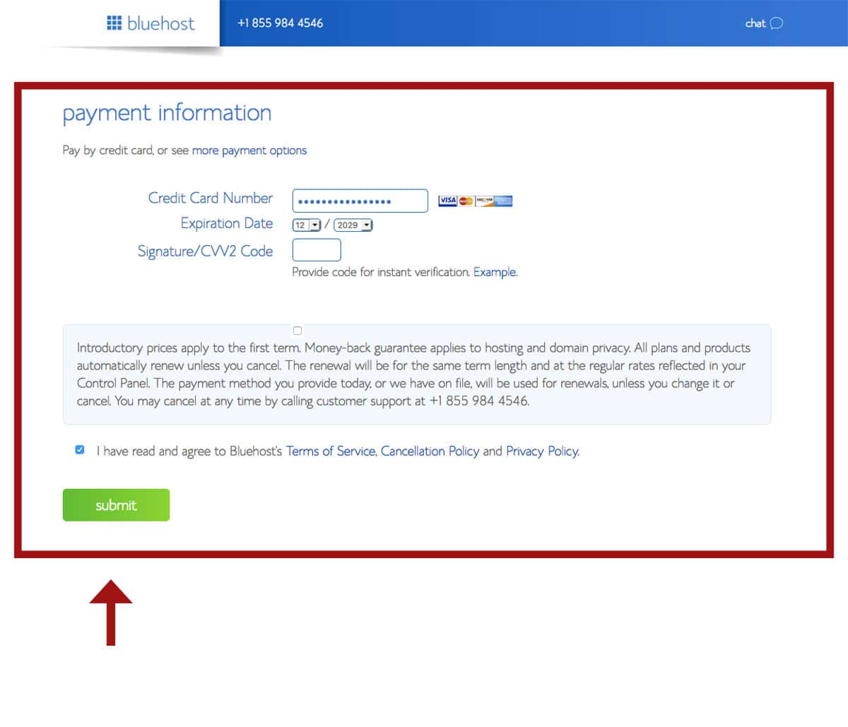 Bluehost sign up forms