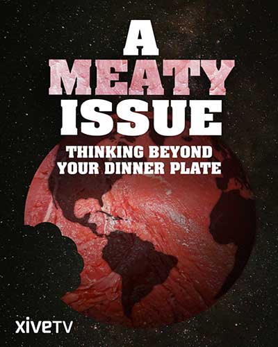 Cover for the film, A Meaty Issue. Features a red globe.