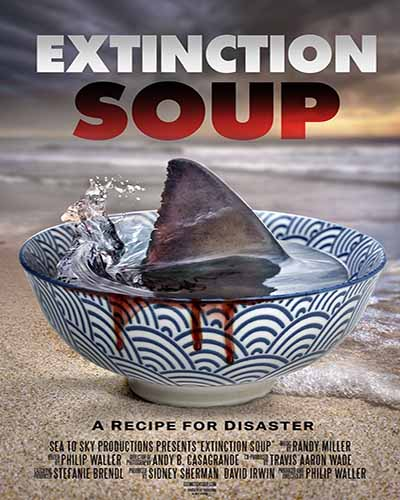 Cover for the film, Extinction Soup, featuring a blue and white bowl sitting on a wooden table with a shark fin in the middle.