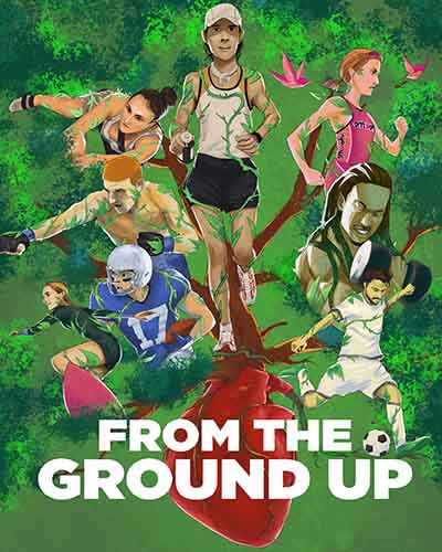 A cover for the film From the Ground Up. Features a tree with different sports players around it.