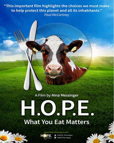 A cover of the film HOPE What You Eat Matters which features a cow and a set of silverware.