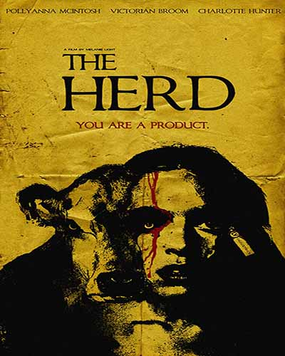 Cover for the film, The Herd, featuring a black and white woman and cow on a yellow background.