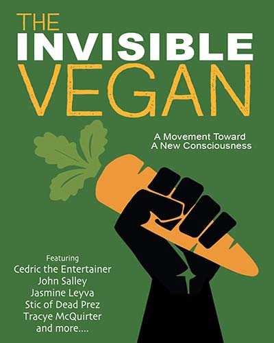 Cover for the film, The Invisible Vegan. Features a black hand holding a carrot on a green background.
