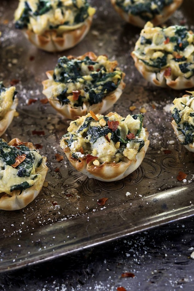 Spinach Artichoke Cups Recipe from Vegan Huggs - Vegan Thanksgiving Guide - Your Daily Vegan
