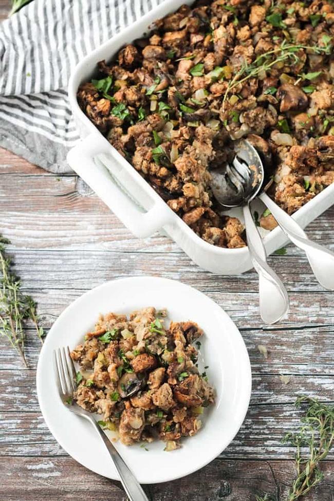 Vegan Stuffing Recipe from Veggie Inspired - Vegan Thanksgiving Guide - Your Daily Vegan