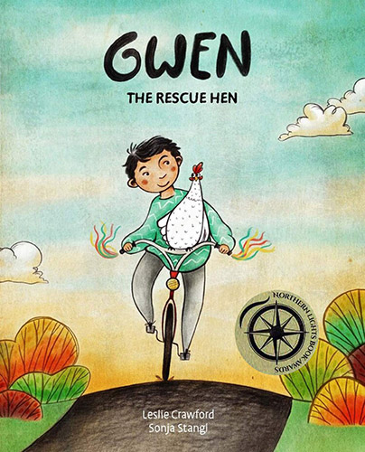 Cover for the book Gwen the Rescue Hen which features a girl riding a bicycle with a chicken on the handle bars.