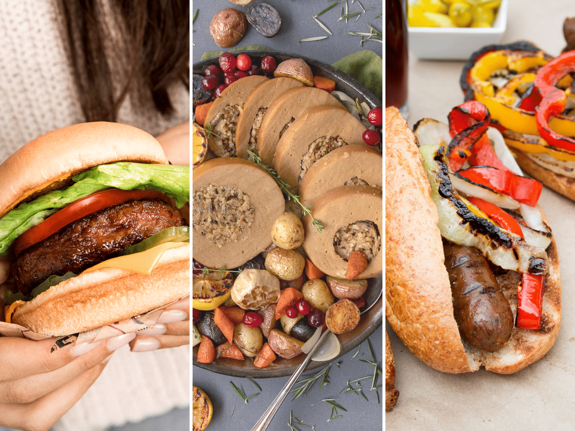 A collage of three pictures. The first one is a woman holding a burger. The second is a holiday roast with vegetables. The third is a plate of grilled sausage sandwiches.