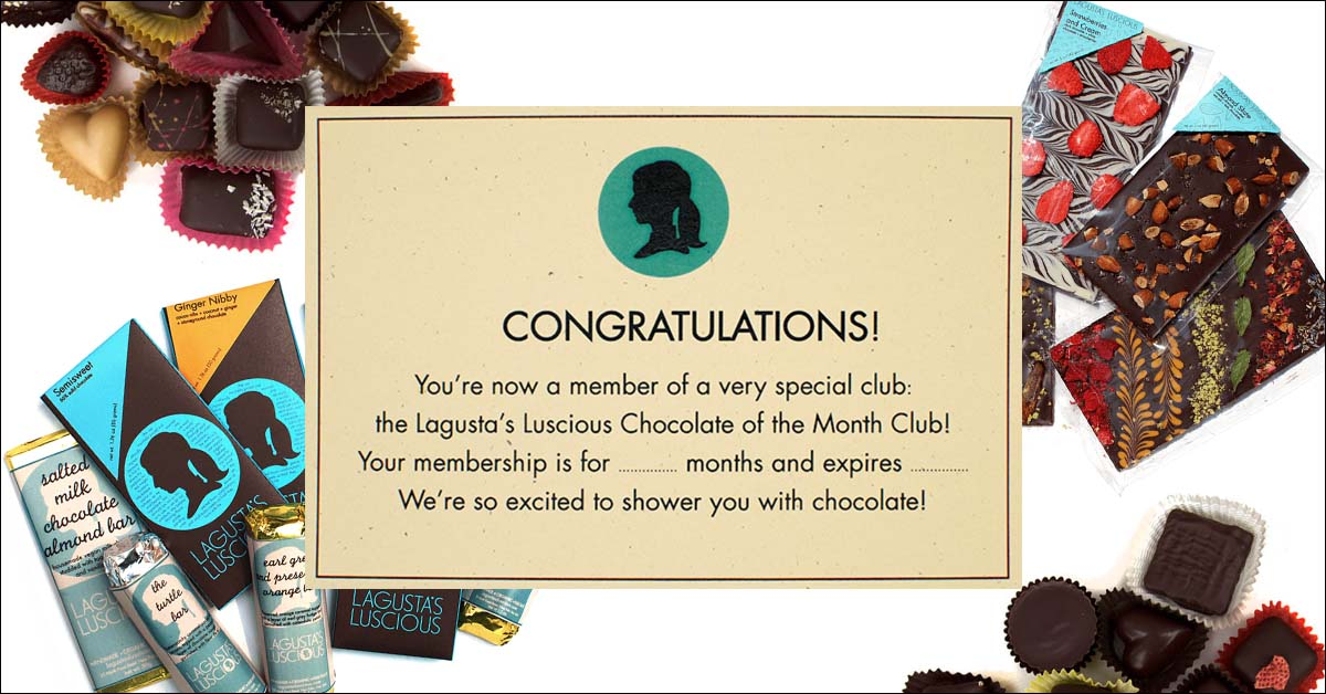 A selection of Lagusta's Luscious Chocolates with a Chocolate of the Month Club description.