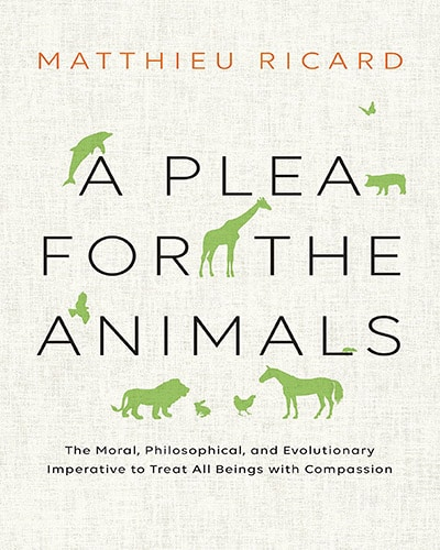 Cover for the book, A Plea for the Animals. Features a tan background with the title written in black and little green animals are scattered about the cover.