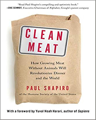 """Cover for the book, Clean Meat. Fetaures a white background with a brown wrapped packed of """"meat"""" sitting in the middle."""