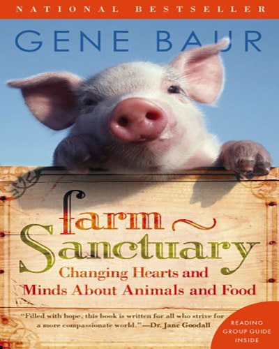 Cover of the book Farm Sanctuary Changing Hearts and Minds About Animals and Food. Features a young pink pig and a blue sky.
