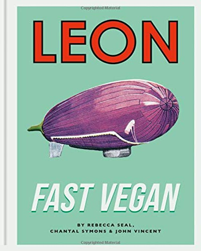 Cover of the book, Leon Fast Vegan. Features a pinky-purple blimp with a light green background.
