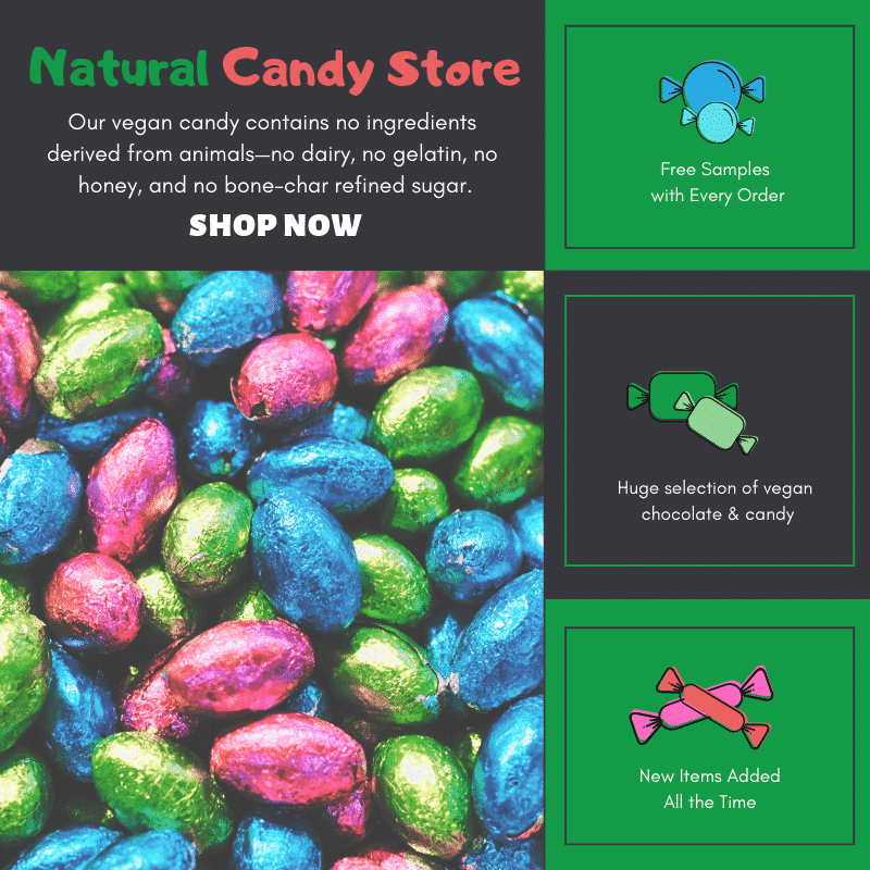 An advertisement for the Natural Candy Store. Features a picture of colorful foil wrapped eggs.