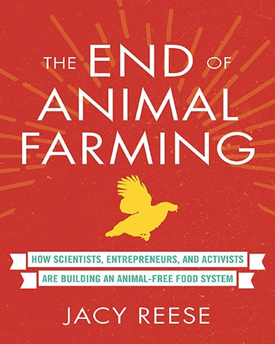 Cover for the book, The End of Animal Farming. Features a bright red cover with white lettering and a yellow silhouette of a chicken in the middle.