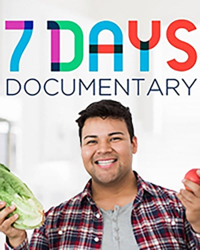 Cover for the short film, 7 Days Documentary featuring a young man holding up two vegetables in his hands.