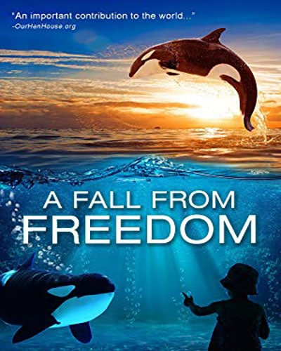 Cover for the film, A Fall From Freedom. Features a colorful ocean scene with killer whales in the water.