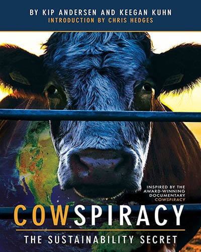 Cover for the book, Cowspiracy: The Sustainability Secret. Features a close-up of a black cow.