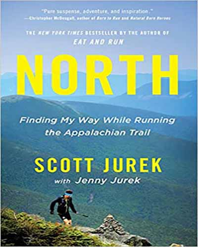 Cover for the book, North, featuring a man running along the top of a mountain