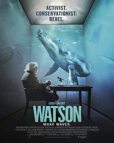 Cover for the film, Watson. Features a picture of Paul Watson sitting at a table in a room with walls like look like an ocean and where you can see a whale.