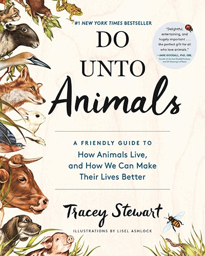 Cover for the book, Do Unto Animals, featuring various illustrated animals on the left side of the cover on a cream background.