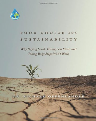 Cover for the book, Food Choice and Sustainability, features a dessert with dry, cracked earth.