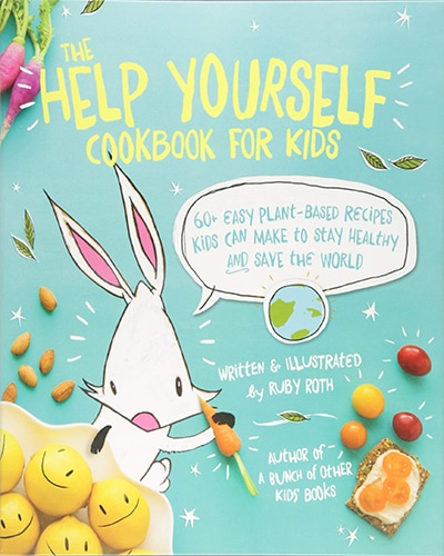 Cover for the book, Help Yourself Cookbook for Kids, featuring a cartoon rabbit and various fruits on a blue background.