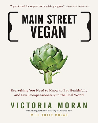 Cover for the book, Main Street Vegan. Features a cream-colored background with a hand-drawn artichoke in the middle.