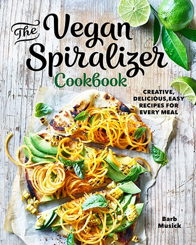 Cover for the book, The Vegan Spiralizer, features a flatbread sitting on top of a wooden background.