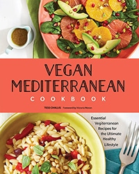 Cover for the book, Vegan Mediterranean Cookbook, features two colorful plates of food with a red banner with the book title on it.