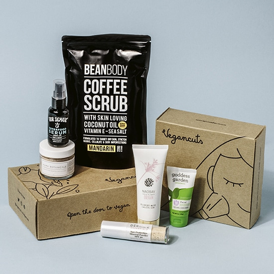 A vegancuts beauty box surrounded by sample beauty products sitting on a pale blue background.