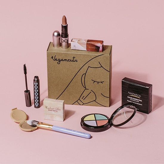 A vegancuts makeup box with samples of vegan makeup sitting on top of a pink background.