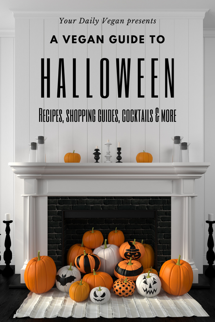"A share image featuring a group of decorated pumpkins sitting in front of a white fireplace with the words, ""Vegan Halloween Guide"" written in black lettering over top."