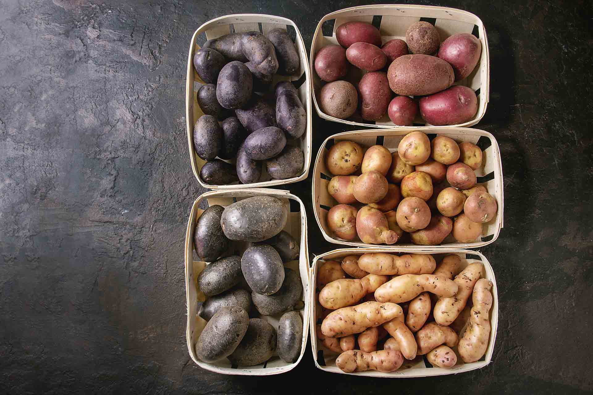 Variety of raw uncooked organic potatoes different kind and colors red, yellow, purple in market baskets over dark texture background.