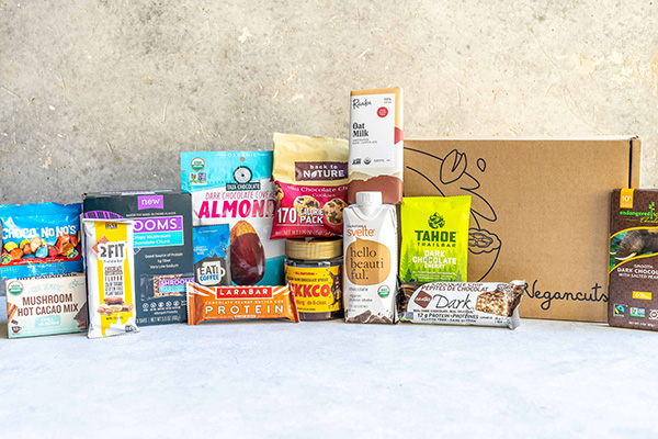 An assortment of vegan chocolate products.