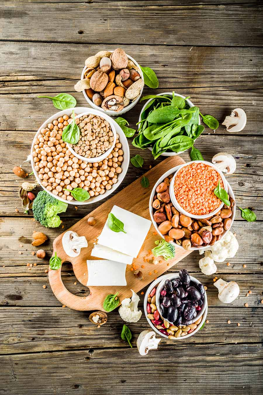 Plant food, vegan protein sources: Tofu, vegan milk, beans, lentils, nuts, spinach and seeds.