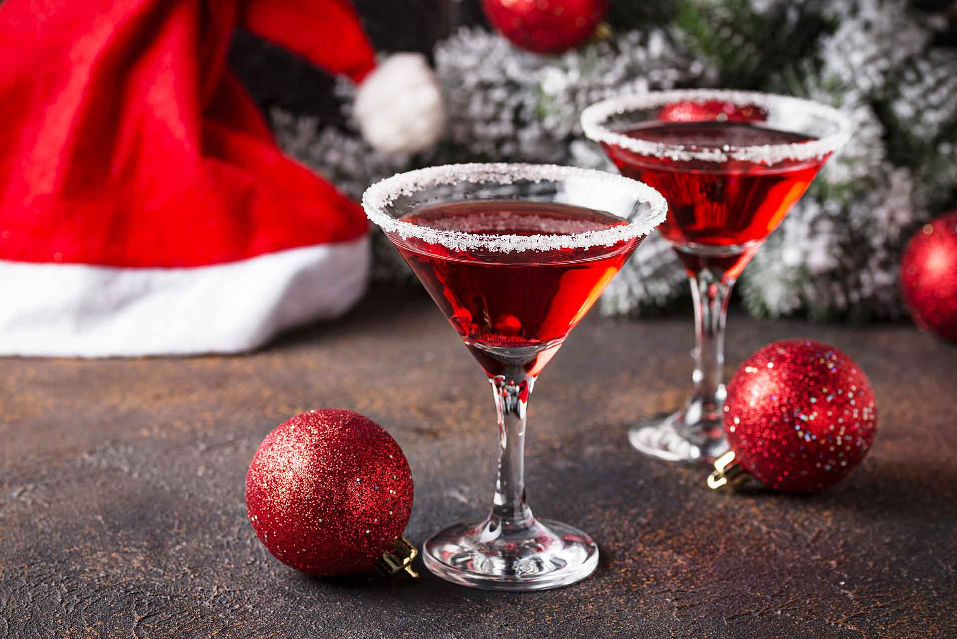 Festive-looking holiday cocktails